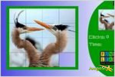 Juego  fighter birds slide puzzle rompecabezas de aves peleando