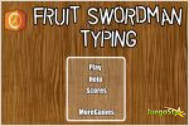 Juego  fruit swordman typing. frutas de palabras