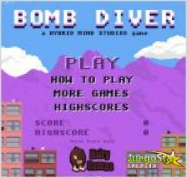 Juego bomb diver. bombas en la ciudad