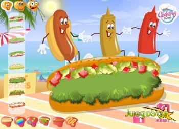 Juego Preparando Hot Dogs en la playa