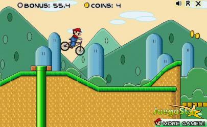 Juego  Mario bros conduciendo una bicicleta montañera