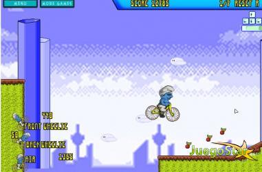 Juego  Un pitufo conduciendo una bicicleta de montañas