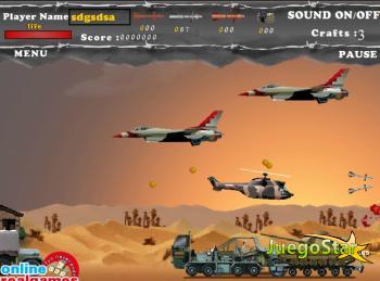 Juego Un avión de guerra en el desierto