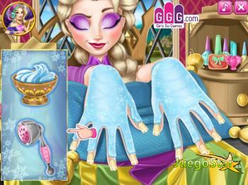 Juego Elsa en el spa de uñas