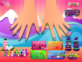 Diseñando uñas en forma de arco iris