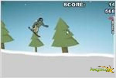 Juego downhill snowboard descender por la montaña en snowboard